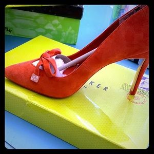 Brand new Ted Baker red suede tie bow pumps